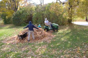 Chuy & I at the leaf pile